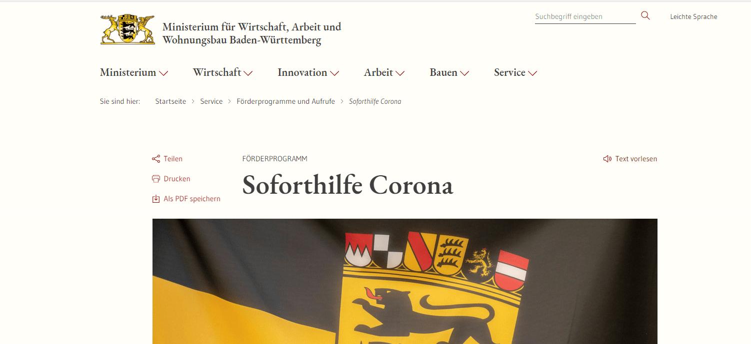 Soforthilfe Corona_ Ministerium für Wirtschaft-Arbeit und Wohnungsbau Badenw