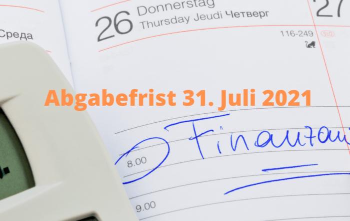 Abgabefrist 31. Juli